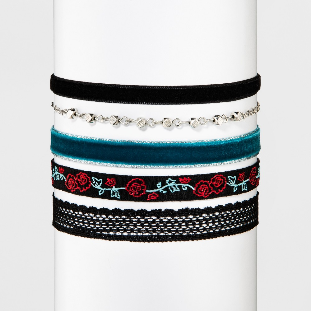 Womens Five Pack Choker Set with Mixed Simulated Velvet Trim - Multicolored, Multi-Colored