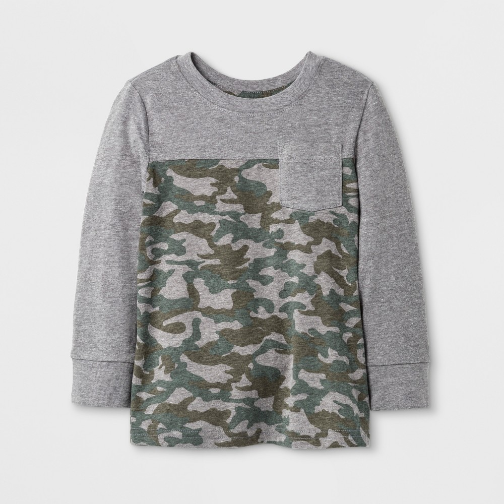 Toddler Boys T-Shirts Cat & Jack Camouflage 2T, Gray