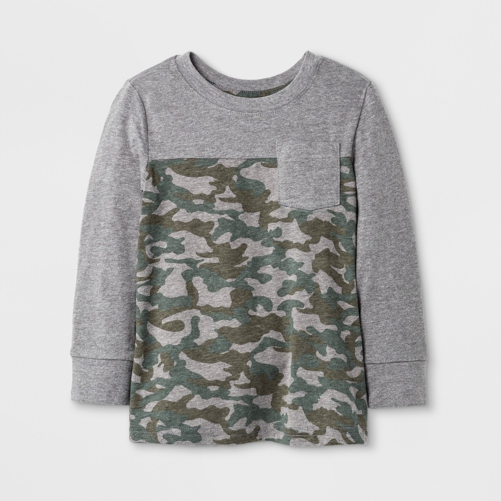 Toddler Boys T-Shirts Cat & Jack Camouflage 3T, Gray