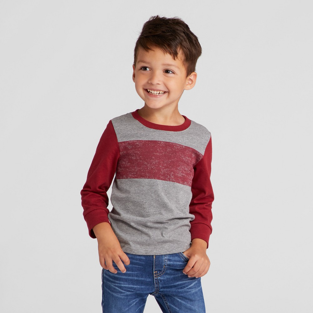 Toddler Boys T-Shirts Cat & Jack Heather Gray/Red 5T