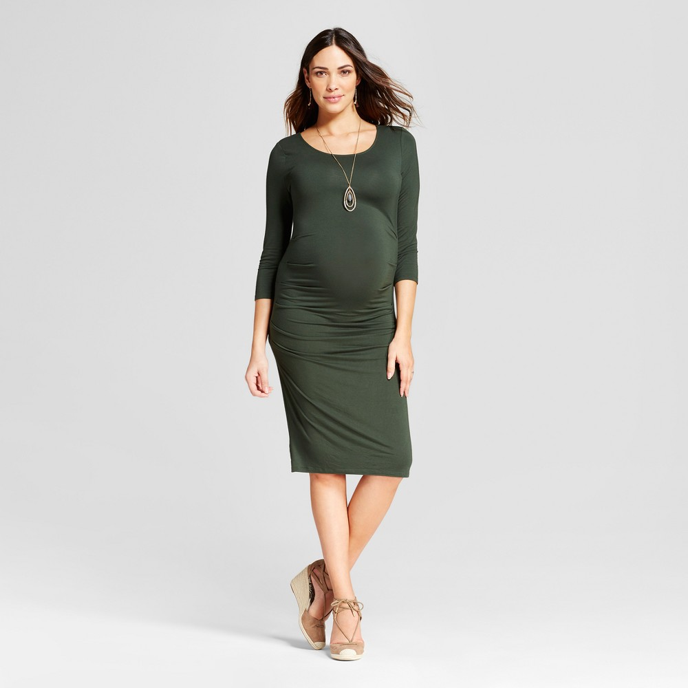 Maternity 3/4 Sleeve Pleated Dress - Isabel Maternity by Ingrid & Isabel Forest Green XS, Womens