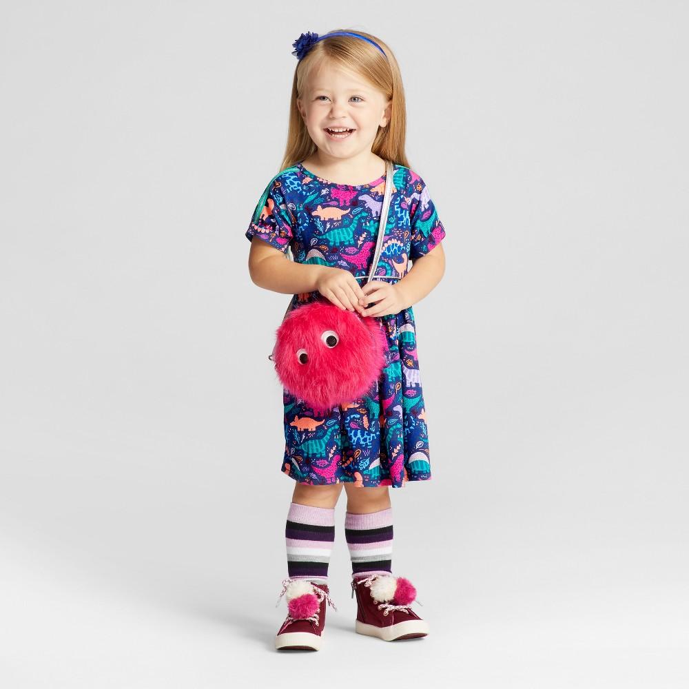 Toddler Girls Short Sleeve A Line Dress - Cat & Jack Nightfall Blue 4T