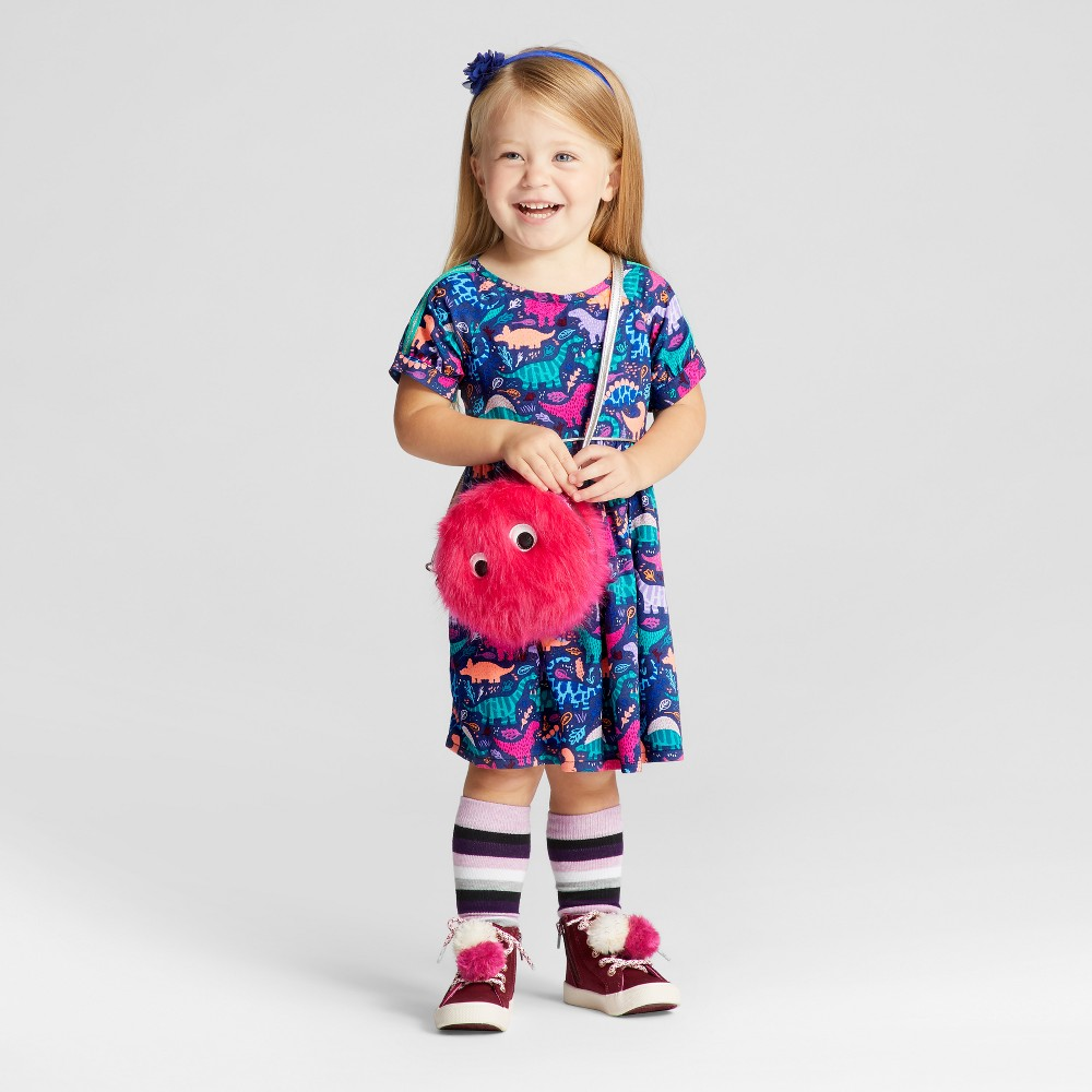 Toddler Girls Short Sleeve A Line Dress - Cat & Jack Nightfall Blue 12M, Size: 12 M
