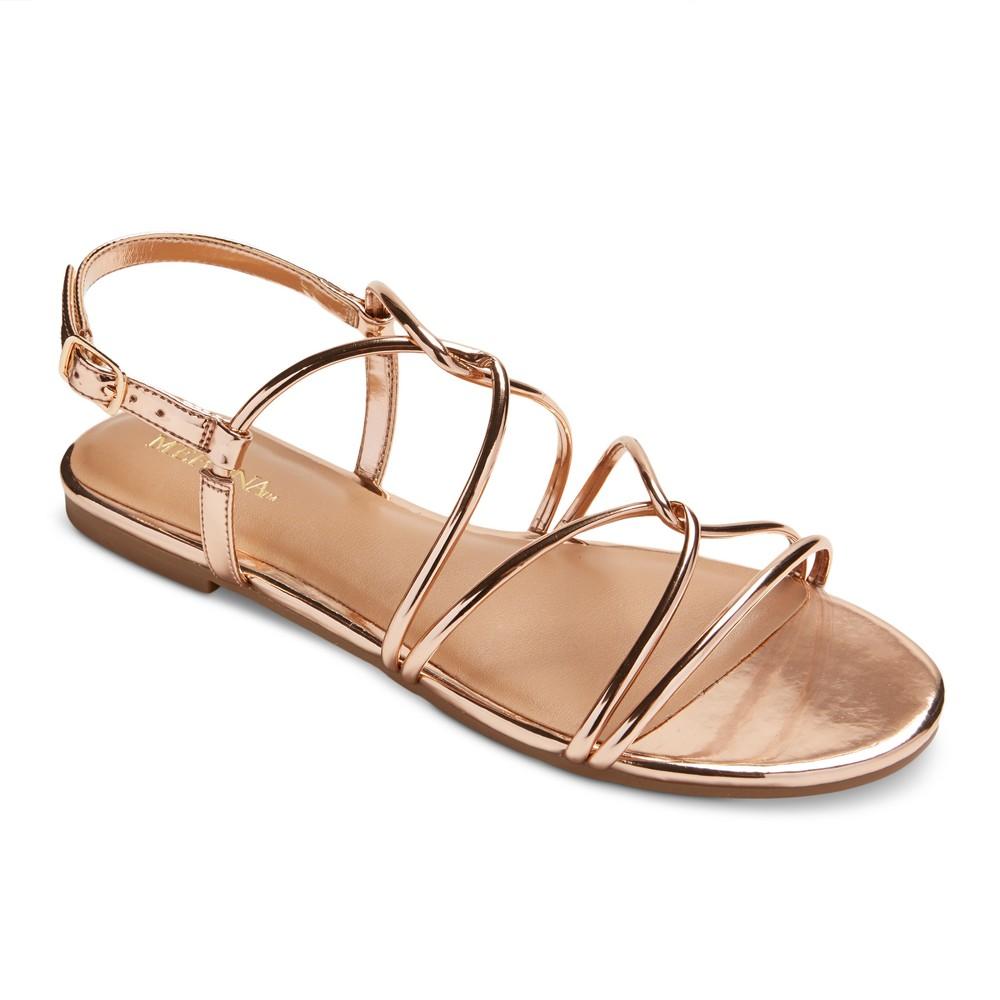 Womens Marcie Metallic Quarter Strap Sandals - Merona Gold 10