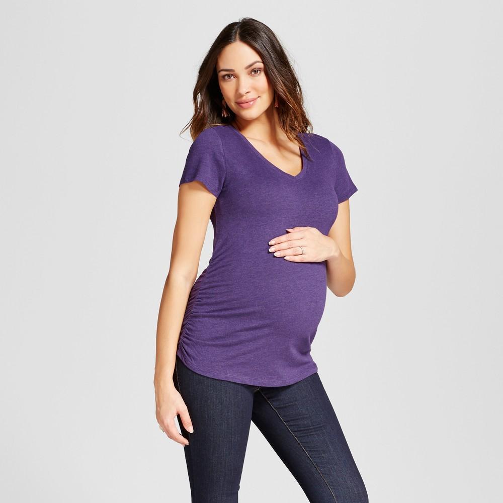 Maternity Shirred V-Neck T-Shirt - Isabel Maternity by Ingrid & Isabel Dark Purple Heather M, Womens