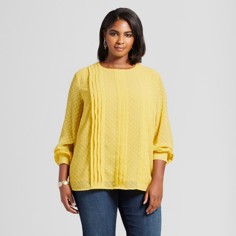 Womens Plus Size Textured Pintuck Blouse - Ava & Viv Yellow 2X