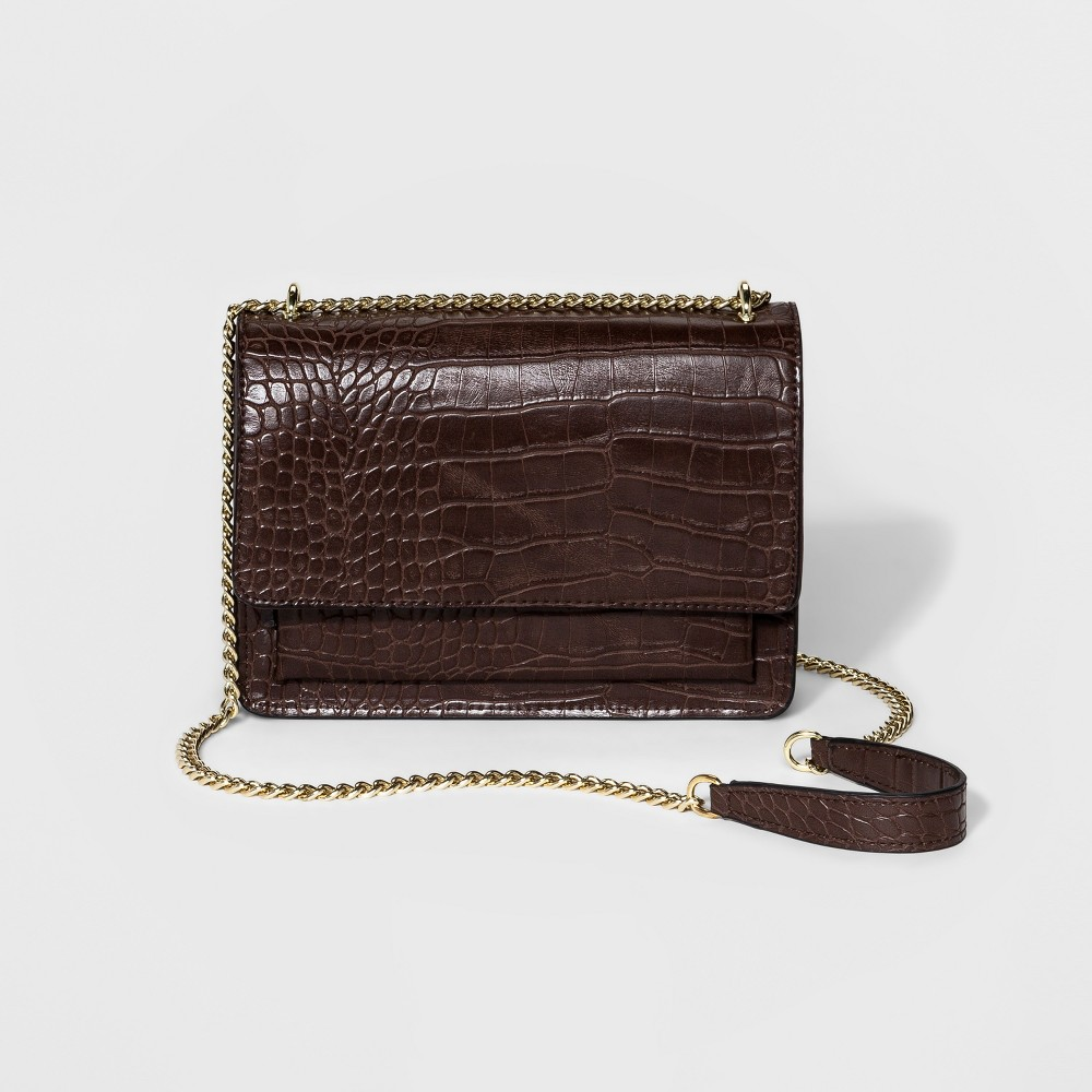 Womens Chain Flap Crossbody Handbag - A New Day Brown
