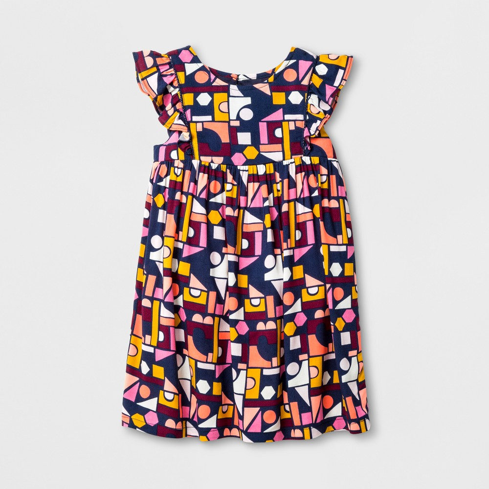 Toddler Girls Sleeveless A Line Dress - Cat & Jack Nightfall Blue 12M, Size: 12 M