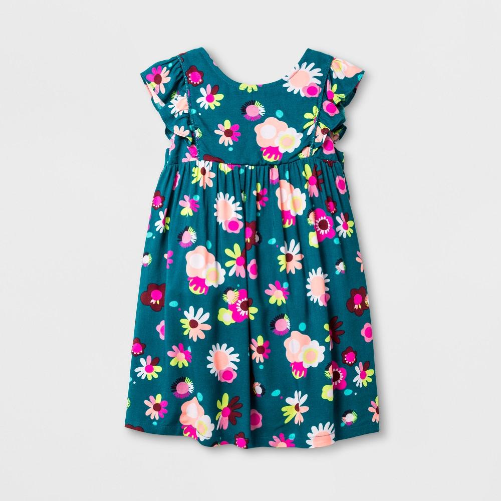 Toddler Girls Sleeveless A Line Dress - Cat & Jack Fiji Teal 2T, Blue