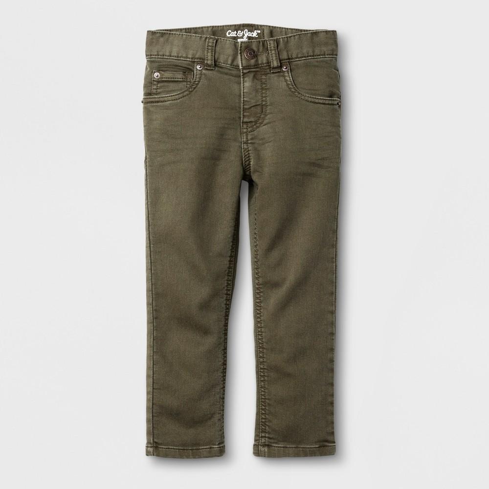 Toddler Boys Skinny Adjustable Waist Denim Pants Cat & Jack Olive 3T, Green