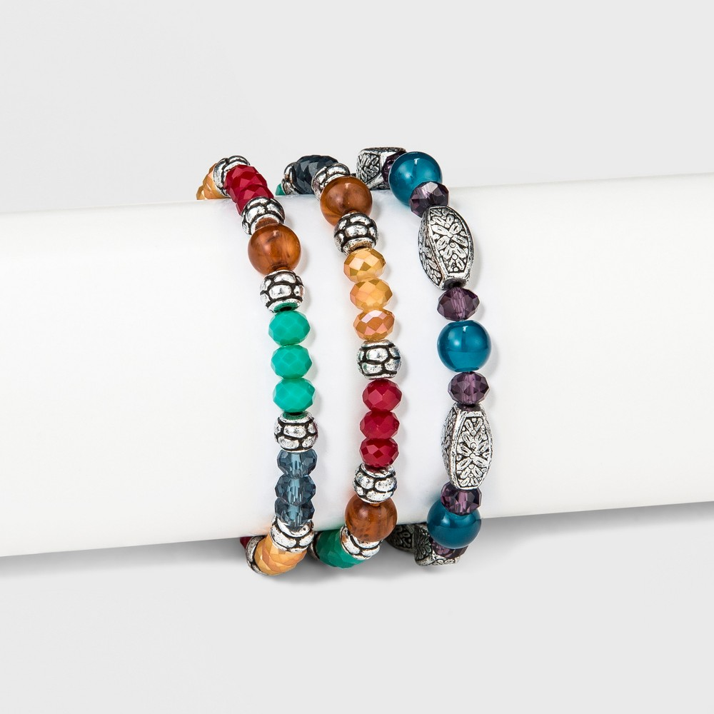 Womens Bracelet Set Three Pack with Mixed Beads - Multicolored, Multi-Colored