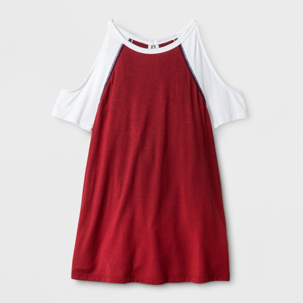 Girls Cold Shoulder Baseball T-Shirt - Art Class Rio Red XL