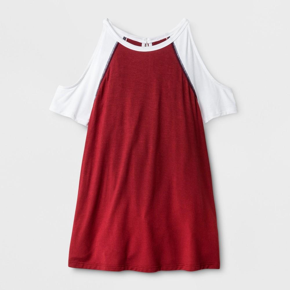 Girls Cold Shoulder Baseball T-Shirt - Art Class Rio Red M