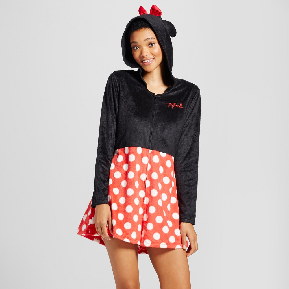 Womens Disney Minnie Mouse Pajama Romper - Black/Red XS, Black Red