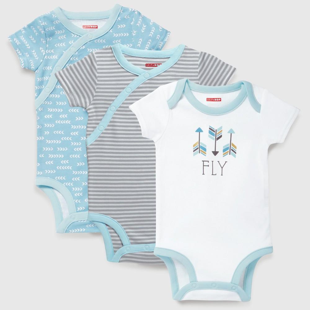 Skip Hop Baby Boys Boho Feathers Side Snap Short Sleeve Bodysuit Set - Blue 9M, Size: 9 M