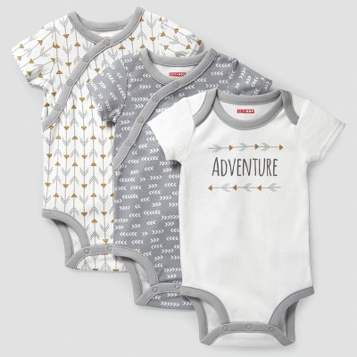 Skip Hop Baby Boho Feathers Side Snap Short Sleeve Bodysuit Set - Gray 6M