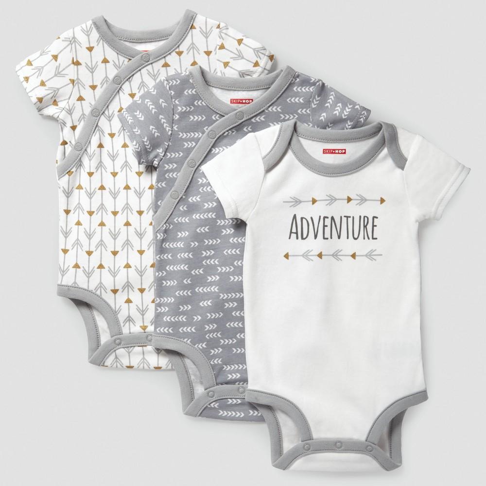 Skip Hop Baby Boho Feathers Side Snap Short Sleeve Bodysuit Set - Gray 6M, Infant Unisex, Size: 6 M
