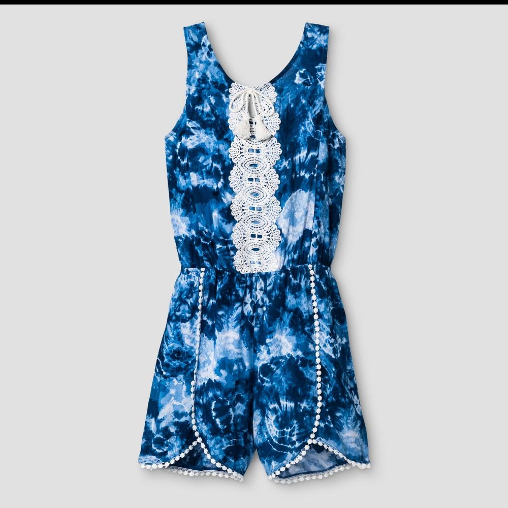Girls Stella & Sienna Tie Dye Woven Romper - White 7, Blue