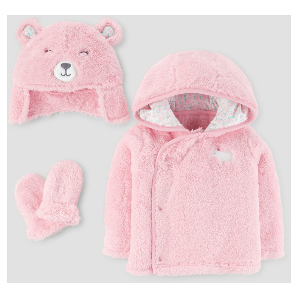 Baby Girls 4pc Bear Coat, Hat and Mitten Set - Just One You Made by Carters Pink L 9-12M, Size: L (9-12M)