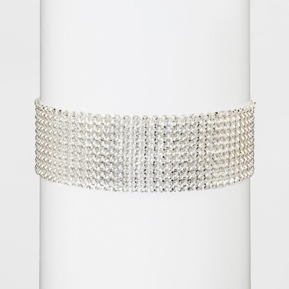 Womens Fashion Mesh Choker Necklace - Medium Silver