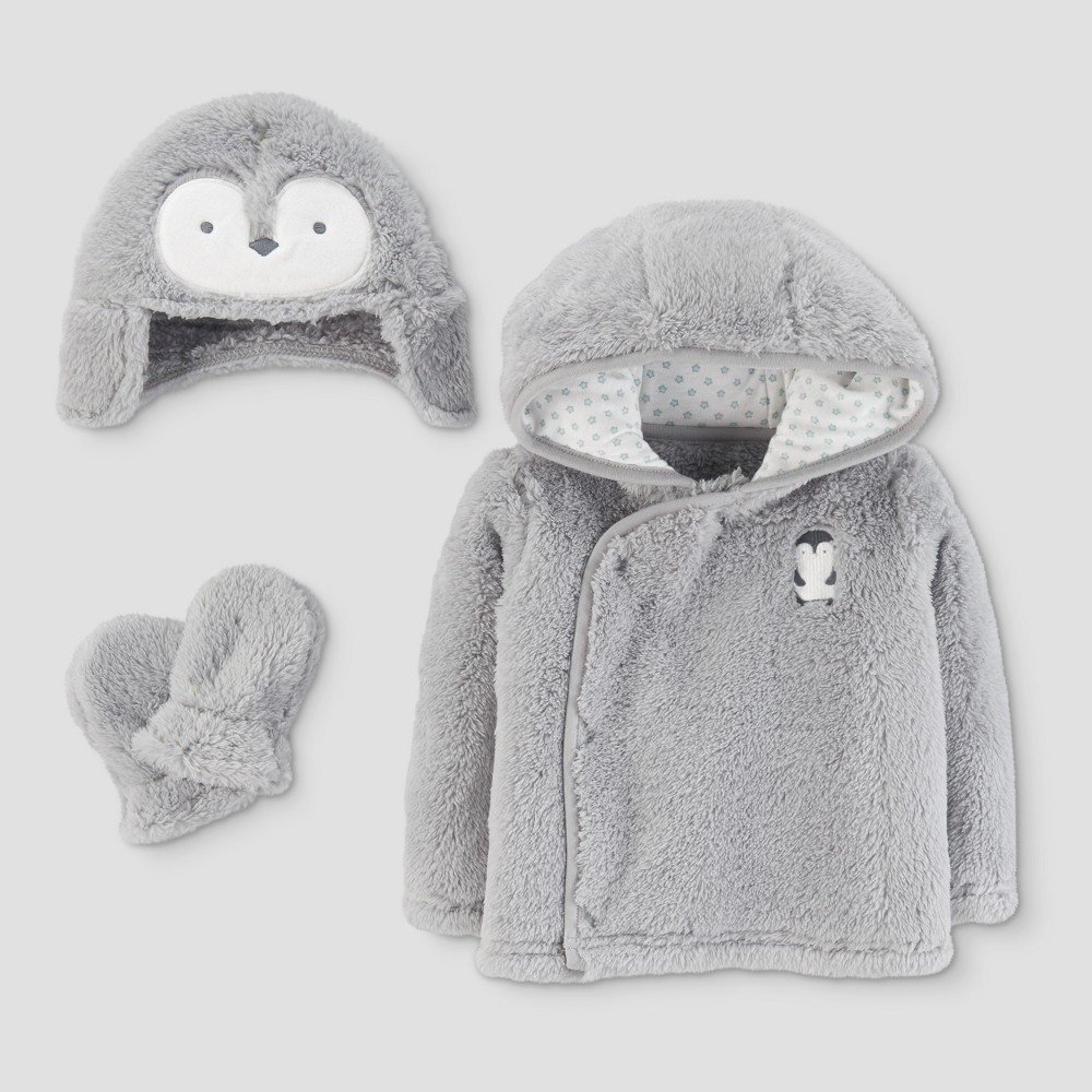 Baby 4pc Penguin Coat, Hat and Mitten Set - Just One You Made by Carters Gray XS 0-3M, Infant Unisex, Size: XS (0-3M)