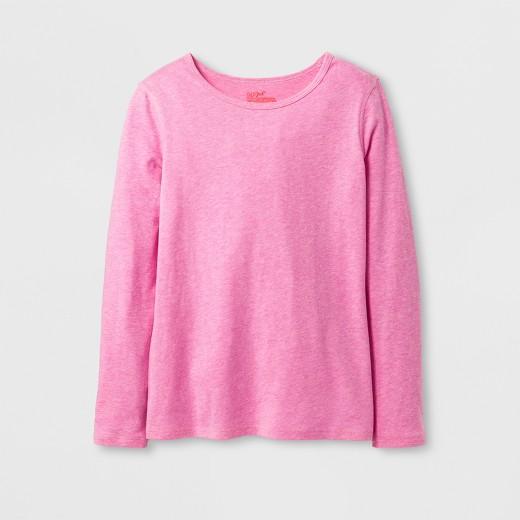 Girls' Sensory Friendly Long Sleeve T-Shirt - Cat & Jack™ Pink ...