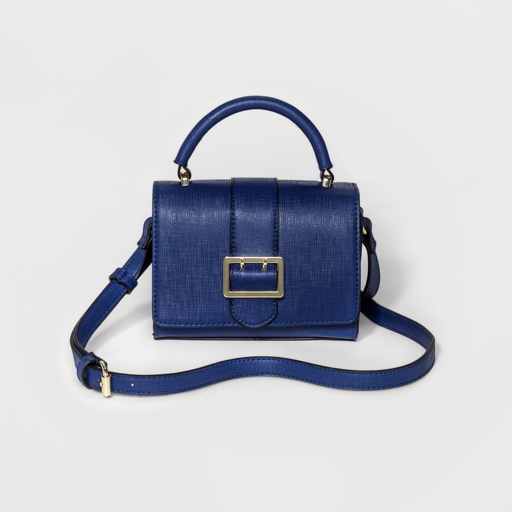 Womens Mini Buckle Crossbody Handbag - Merona Navy (Blue)