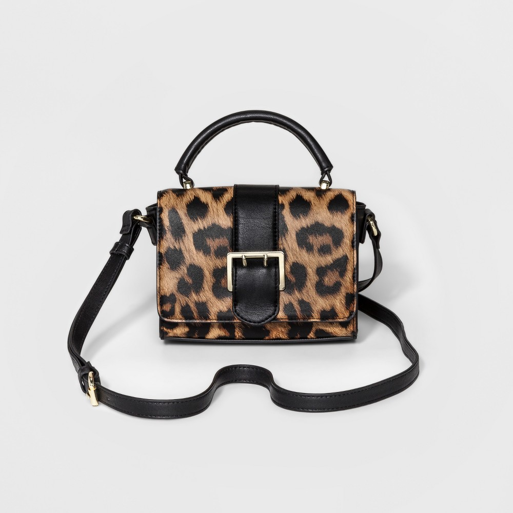 Womens Mini Buckle Crossbody Handbag - Merona Leopard