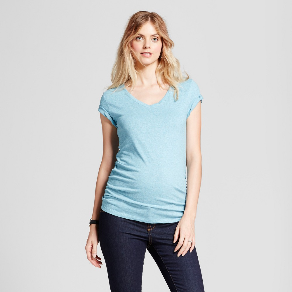 Maternity Shirred V-Neck T-Shirt - Isabel Maternity by Ingrid & Isabel Sky Blue Heather M, Womens