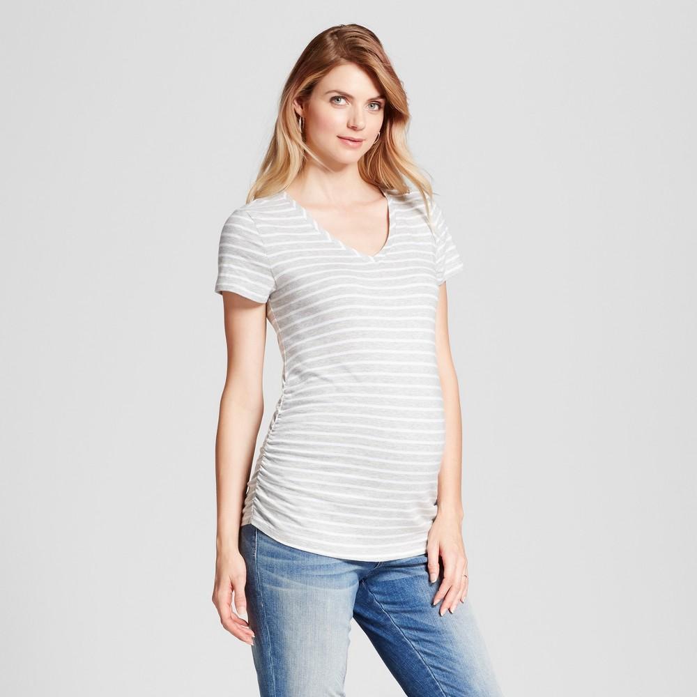 Maternity Striped Shirred V-Neck T-Shirt - Isabel Maternity by Ingrid & Isabel Light Gray Heather S, Womens