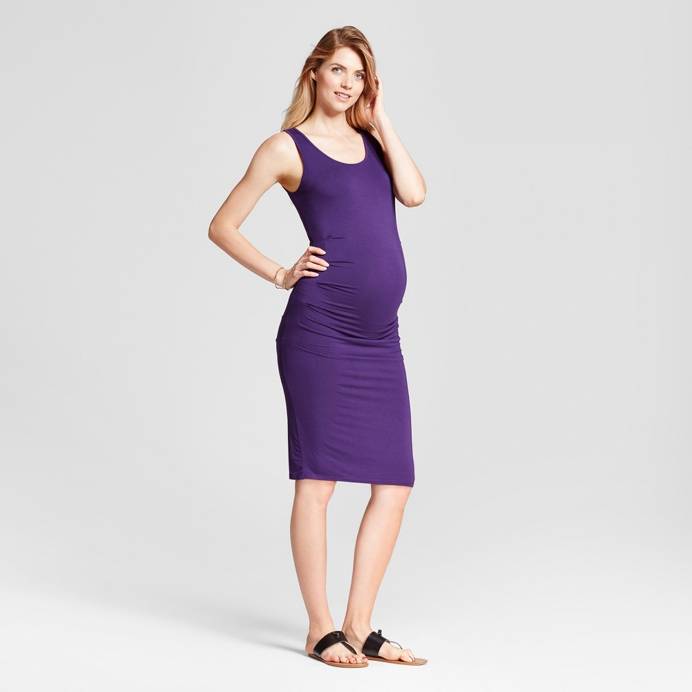 Maternity Pleated Tank Dress - Isabel Maternity by Ingrid & Isabel Purple S, Womens
