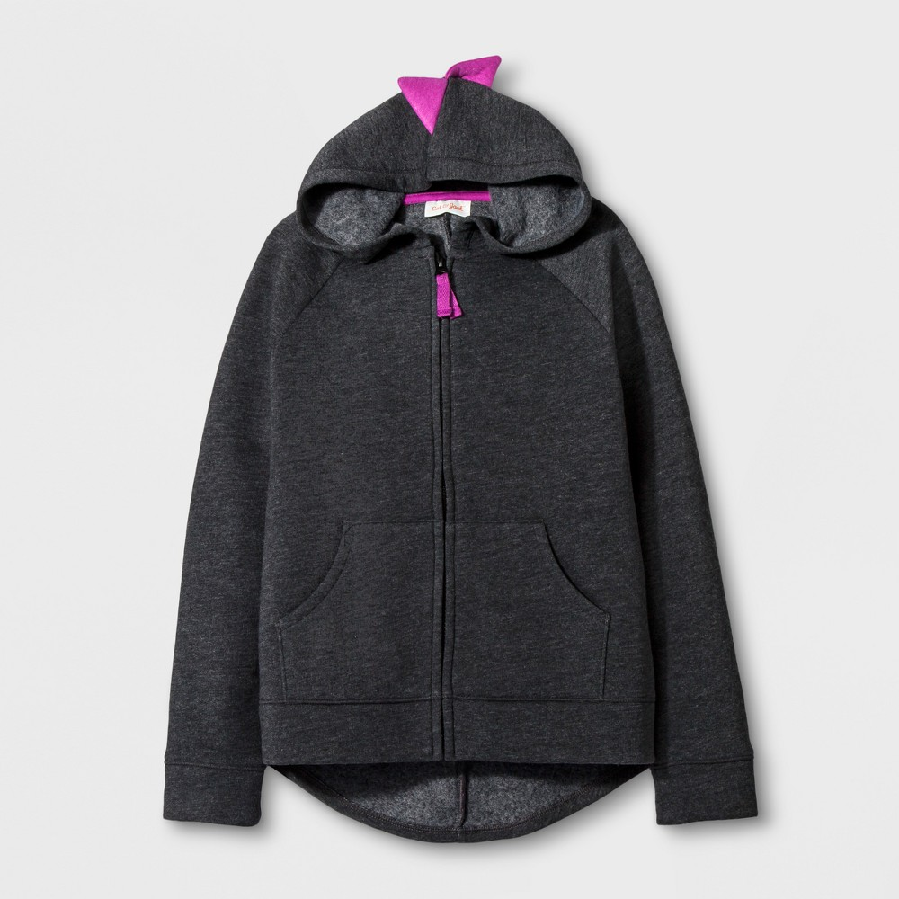 Girls Long Sleeve Zip Up Hoodie - Cat & Jack Black XS