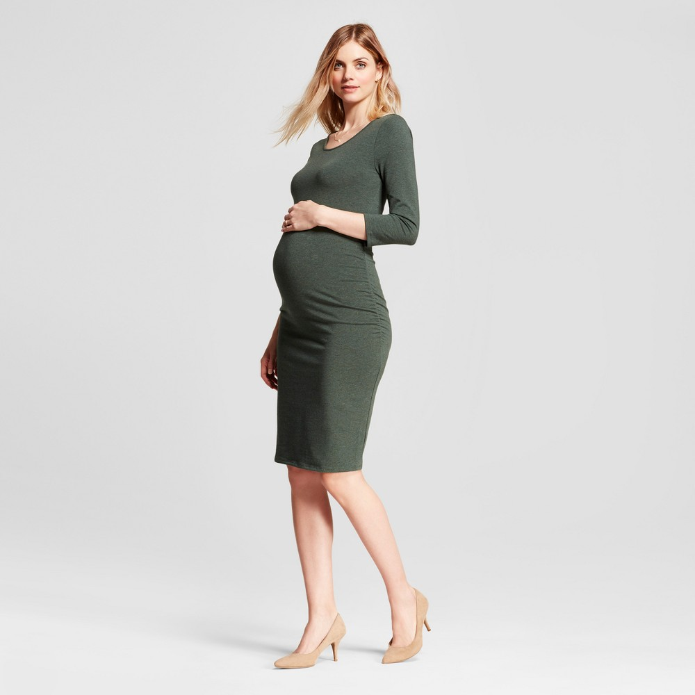 Maternity 3/4 Sleeve Shirred T-Shirt Dress - Isabel Maternity by Ingrid & Isabel Forest Green L, Womens