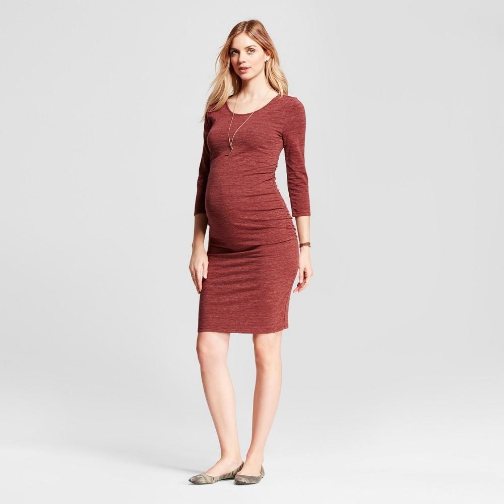 Maternity 3/4 Sleeve Shirred T-Shirt Dress - Isabel Maternity by Ingrid & Isabel Crimson Heather S, Womens