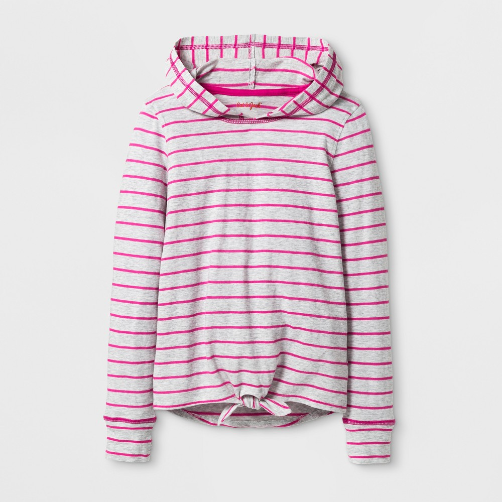 Girls Long Sleeve Tie Front Pullover Top - Cat & Jack Pink XS