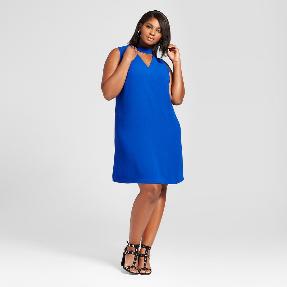 Womens Plus Size Choker Shift Dress - Ava & Viv Blue 1X