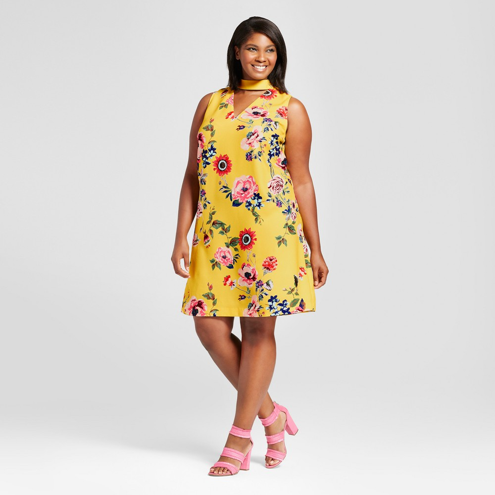 Womens Plus Size Choker Floral Shift Dress - Ava & Viv Yellow X