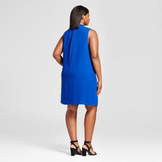women's plus size choker shift dress - ava & viv™ blue : target