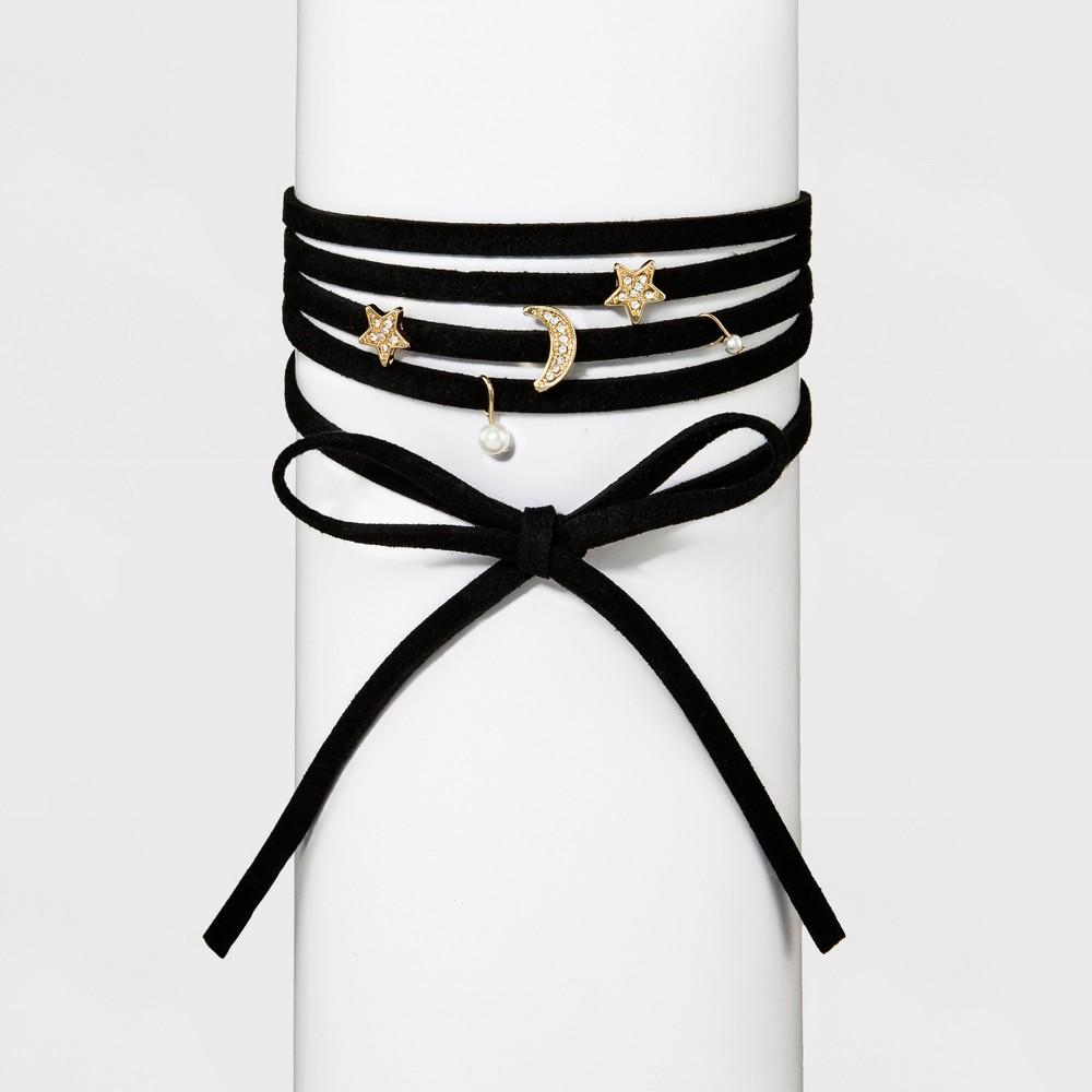 Womens Fashion 5 Row Choker - Gold/Black (12)