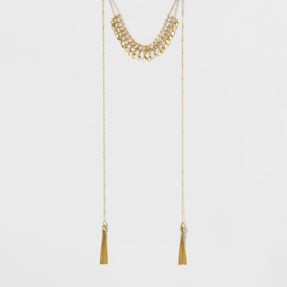 Womens Fashion Choker with Tassels - Gold/Ivory (12)