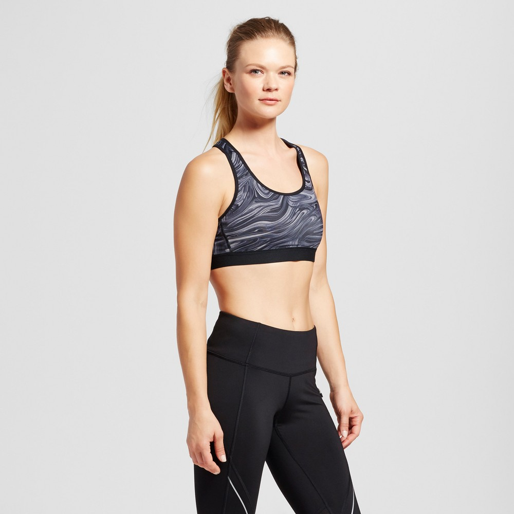 Womens Power Core Compression Sports Bras - C9 Champion - Gray/Marble Print L