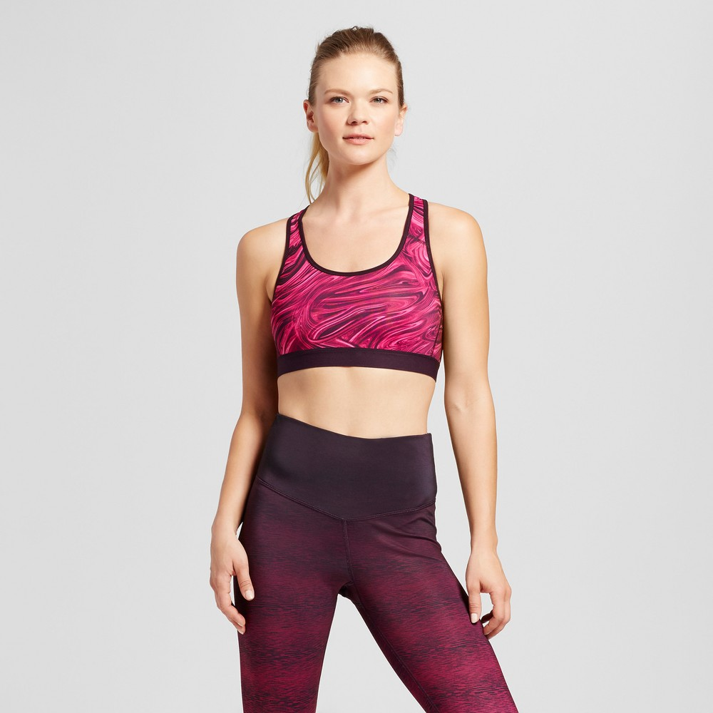 Womens Power Core Compression Sports Bras - C9 Champion - Deep Raspberry/Marble Print Xxl