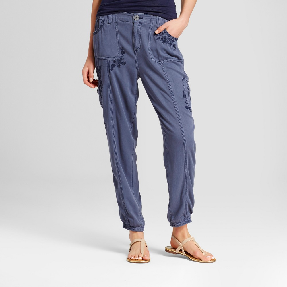 Womens Embroidered Soft Chino Pants - Knox Rose Blue L