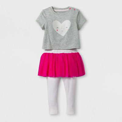 Baby Girls' 2pc Heart Face Bodysuit and Skegging Set - Cat & Jack™ Gray/Cherry 0-3 Months