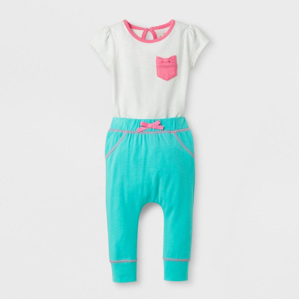 Baby Girls 2pc Bodysuit and Bear Bottom Harem Pants Set - Cat & Jack Cream/Aqua 24 Months, Size: 24 M, White