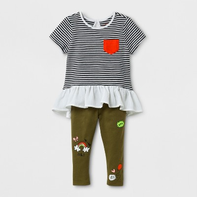 Baby Girls' 2pc Stripe Tunic and Patch Leggings Set - Cat & Jack™ Olive 6-9 Months