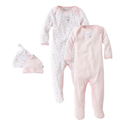 Burt's Bees Baby® Girls' Organic 4-Piece Coverall & Knot Top Hat Set - Pink