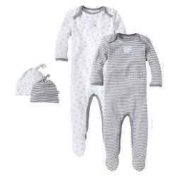 Burt's Bees Baby® Organic 4-Piece Coverall & Knot Top Hat Set - Heather Gray