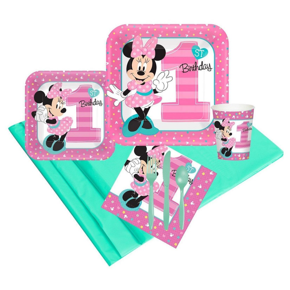 24ct Disney Minnie Mouse 1st Birthday Party Pk, Pink
