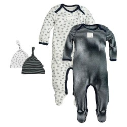 Burt's Bees Baby® Organic 4-Piece Coverall & Knot Top Hat Set - Blueberry
